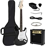 Best Choice Products 39in Full Size Beginner Electric Guitar Starter Kit with Case, Strap, 10W Amp, Strings, Pick, Tremolo Bar (Black)