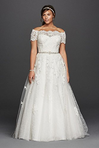 Lace Jewel Scalloped Sleeve Plus Size Wedding Dress Style 9WG3728, Soft White...
