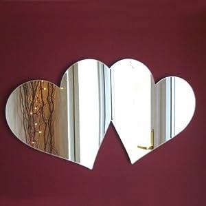 Amore doppio cuore specchio 20 x 10 cm casa e cucina - Specchio a cuore ...