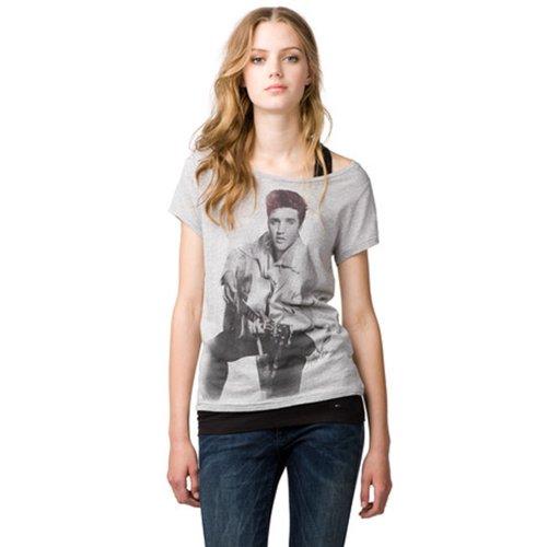 Hilfiger Denim  Women's Elvis Cn Tee S/S 1 T-Shirt Grey (038 Light Grey Htr) 34