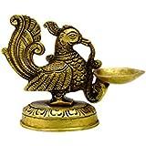 Cosmo-craftvilla Handmade Indian Puja Brass Peacock Carrying Diya For Mandir / Oil Lamp / Deepak For Diwali