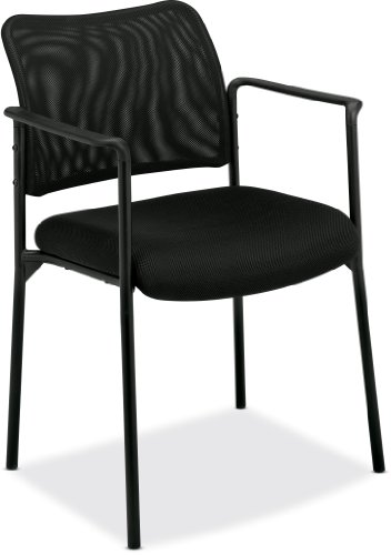 basyx by HON HVL516 Mesh Back Guest Chair with Arms, Black