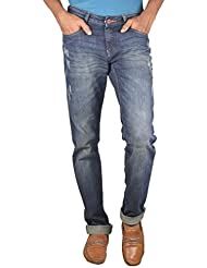 Dark Blue Men's Relaxed Tapered Dark Ruffle Used Wash Ffreak Jeans For Mens