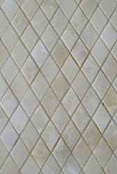 White Onyx DIAMOND Polished Mosaics Meshed on 12 X 12 Tiles for Kitchen and Bathroom Backsplash, Shower Walls