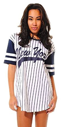New womens baseball jersey oversized new york baseball top for Baseball jersey shirt dress