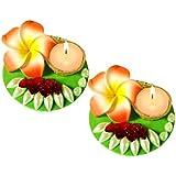 Unique Arts Beautiful Designer Petals Floating Kundan Diya - Set Of 2 - FD126
