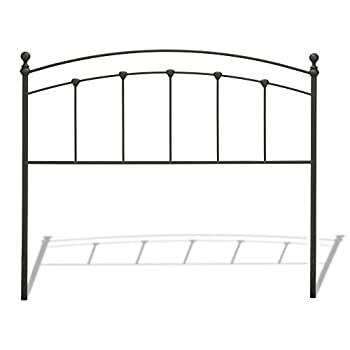 Sanford Metal Headboard with Castings and Round Finial Posts, Matte Black Finish, Queen