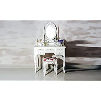 Beautiful White Label Cleopatra Vintage Vanity Table (7 Drawer)