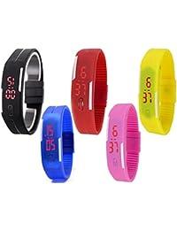 Lemonade - Pack Of 5 - Multicolor Silicone Unisex Digital LED Band Wrist Watch For Boys, Girls, Men. Women