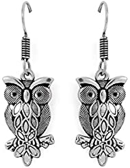 OWL SHAPE TRENDY DANGLER EARRINGS IN OXIDISED FINISH
