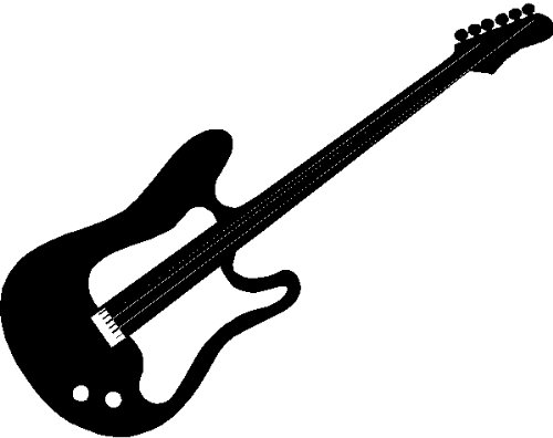 GUITAR WALL ART STICKERS DECALS GRAPHICS, BLACK