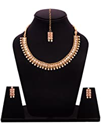 Sitashi Ethenic Gold Plated Antique Kundan Necklace Set With Mang Tika/Artificial Jewellery For Women