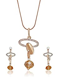 Mahi Crystal Oval Magic Gold Plated Pendant Set For Women NL4101123G