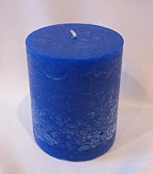"""Hand Poured Round Rustic 3.5x3"""" Wax Candle, Blue, French Vanilla Scented"""