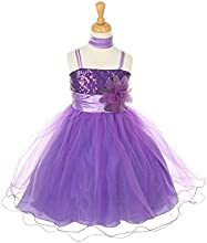 Cinderella Couture Little Girls Purple Corsage Scarf Easter Occasion Dress 2-6