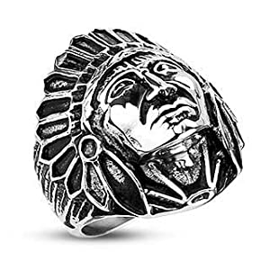 27MM Polished Stainless Steel Biker Ring With Apache Indian Chief Design