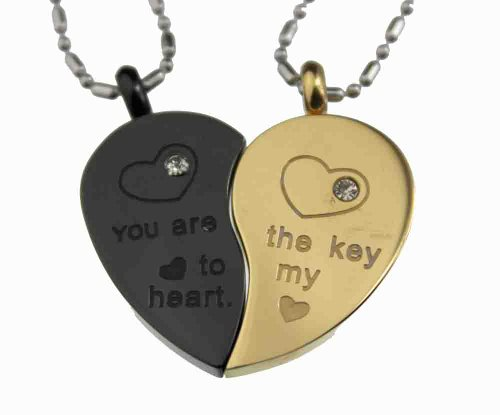 d269ee7a0a Lovers /Couple Gold & Black Tone Split Heart Pendant Set, Stainless Steel