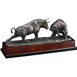 Bronze Charging Bull & Bear Wall Street Sculpture on Burl Wood Base