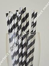 Perfectmaze 100 Pack Stylish Paper Straws StripedBlack
