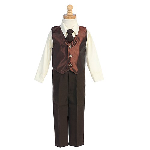 Little Boys Brown Vest Special Occasion Holiday 3pc Suit Set 6M-7