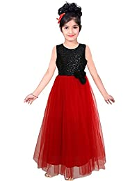 S R Fashion Kids New Designer Red Rose Net Kids Gown For 8-11 Girls (13_Net_Color_Red_Rose_Work_Long Gown)
