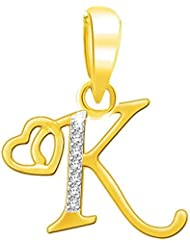 "Kaizer Economica Alphabet Collection Initial Letter ""K"" With Heart Gold And Rhodium Plated Pendant With Diamond..."