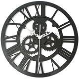 Vintage Wall Clock Rustic Art Big Gear Wooden Handmade Home Bar Cafe Decor Gift 32cm- Black