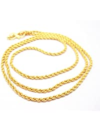 Micro Gold Plated Neck Chain For Men & Women, Gold Tone, 23.5 Inch Long, Designer, Round Shaped