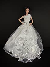 White Gown with Large White Lace Applique Attached At the Waist Made to Fit the Barbie Doll