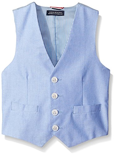 Tommy Hilfiger Little Boys' Yarn Dye Oxford Suit Vest, Medium Blue, 02 Regular