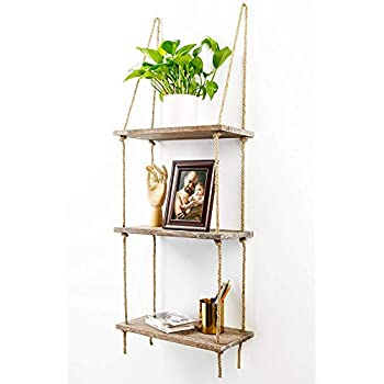 TIMEYARD Decorative Wall Hanging Shelf, 3 Tier Distressed Wood Jute Rope Floating Shelves, Rustic Home Wall Decor