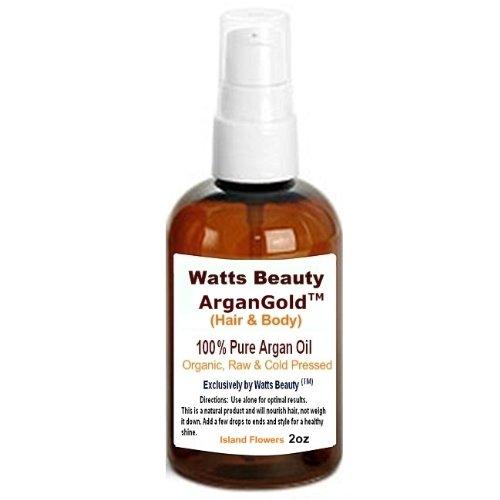 Watts Beauty Argan GoldTM 60ml - 100% Organic, Pure, Raw & Cold Pressed Argan Nut Oil - Island Flower