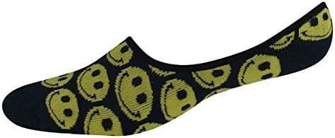 K Bell Men39s Socks Novelty Sport Smiley Face All Over Liner Black 1pair