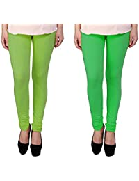 Snoogg Womens Ethnic Chic Inspired Churidar Leggings In Light Green And Green