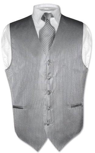 Men's Dress Vest & NeckTie Silver Grey Striped Vertical Stripes sz Med