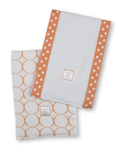 SwaddleDesigns Mod Circle Set of 2 Baby Burpies, Orange
