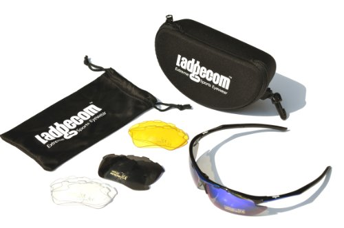 Ladgecom Cycling & Running Sunglasses Complete Kit with 4 Lenses for all Conditions