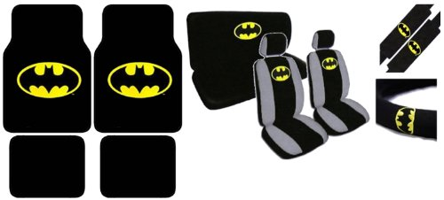 15pc Batman Combo with Front and Rear Carpeted Floor Mats, Front Low Back Seat Covers with Head Rest Covers, Bench Rear Cover, Steering Wheel Cover and a Set of Shoulder Pads