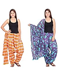 Rama Set Of 2 Floral Print Orange & Purple Colour Cotton Full Patiala With Dupatta Set