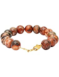 Satyamani Natural Fire Agate Gemstone 12 Mm Beads Bracelet With Hookh For Negativity Blockage (SMAS0226N)