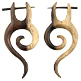 Evolatree - Hand Carved Sono Wood Spiral Tail With Horn Pin Earrings