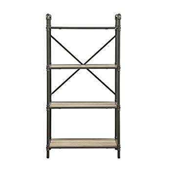 Major-Q Industrial Style 4 Tier Shelf for Living Room, Rectangular, Wood Rustic and Oak Finish, 14 x 26 x 49