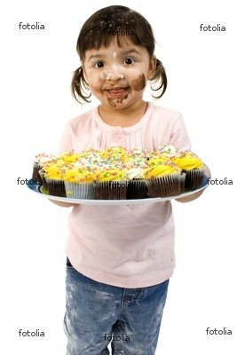 Wallmonkeys Peel and Stick Wall Graphic - Adorable Toddler Girl with Cupcakes - 18