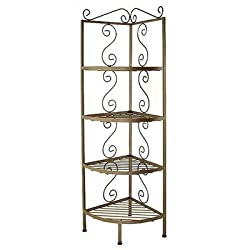 "Corner Baker's Rack Finish: Aged Iron, Brass Tips: Without Brass Tips, Size: 13"" W x 13"" D"