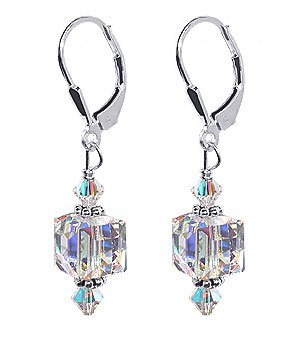 "SCER053 Dazzling 8mm Clear Genuine Cube Crystals Sterling Silver Leverback 1.5"" Long Drop Earrings MADE WITH SWAROVSKI ELEMENTS"