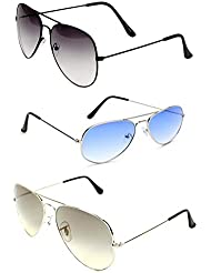 Unisex Combo Pack Of 3 Aviator Sunglasses For Men And Women ( Blk Shd Blk -Slvr Blue - Slvr Shd Slvr ) ( Co3-037 )