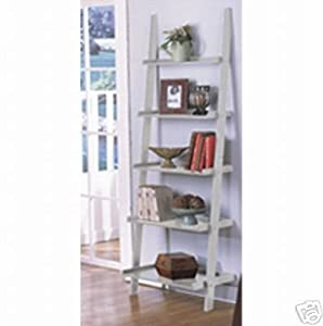 five tier white leaning ladder style magazine. Black Bedroom Furniture Sets. Home Design Ideas