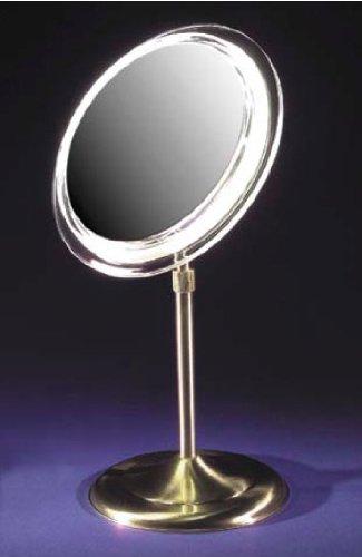 "Zadro 9"" Makeup Magnifying Vanity Mirror, Satin Nickel, Surround Light, Adjustable Pedestal, 7X Magnification"