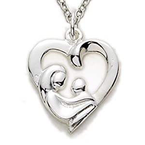 "Amazon.com: 5/8"" Sterling Silver Pierced Mother and Child Heart"