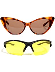 New Stylish UV Protected Combo Pack Of Sunglasses For Women / Girl ( BrownCateye-YellowNightVision ) ( CM-SUN-...